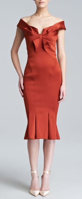 Off the shoulder Zac Posen dress with fluted hem.