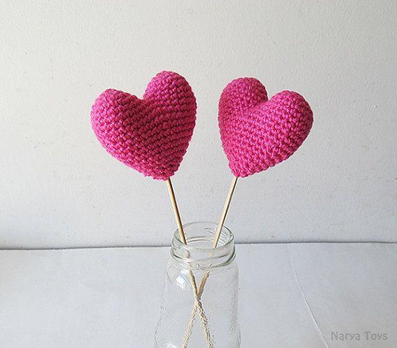 Amigurumi Crochet Vivid Pink Heart Set of 2  Cake by naryatoys