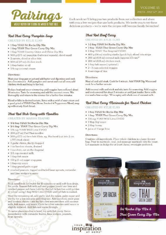 This weeks pairing recipes