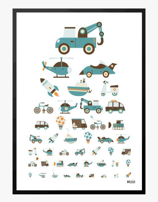 synstalve med biler børneplakat muui livston