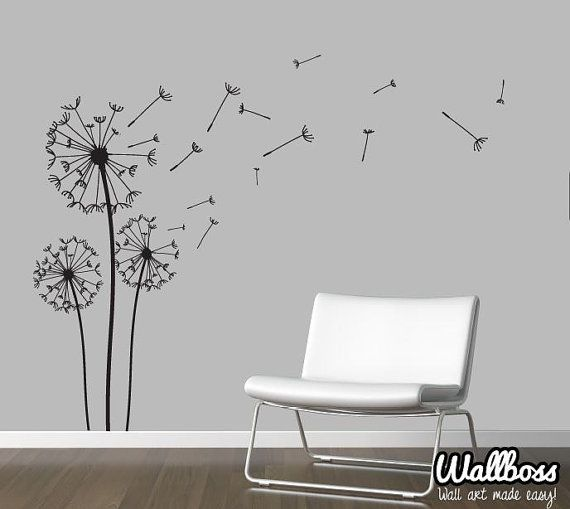 dandelion wall decal - wall stickers blowing away in the wind vinyls