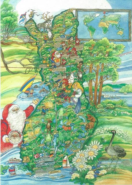 Mapcard Finland Marja-Liisa Pitkäranta - Santa comes from Finland by PCmarja2006, via Flickr