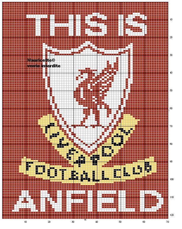 sport - football - liverpoll - point de croix - cross stitch - Blog : http://broderiemimie44.canalblog.com/