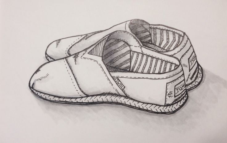 TOMS on holiday in Spain. Shoe, illustration, draw, fineliner, promarker
