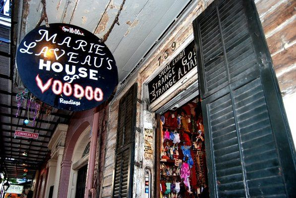American Horror Story:Coven Marie LaVeau's House of Voodoo....Yes. It really exists: 739 Bourbon St, New Orleans. This shop carries spells, ritual kits, and seance bags.  No photography allowed in the store.  Be respectful if you go there.....or else!