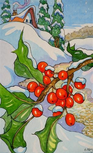 """""""Snow on the Holly Storybook Cottage Series"""" - Original Fine Art for Sale - © Alida Akers"""