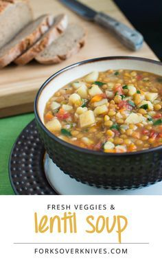 Lentil Vegetable Soup from Forks over Knives. Read the comments for suggested additional ingredients and cook time.