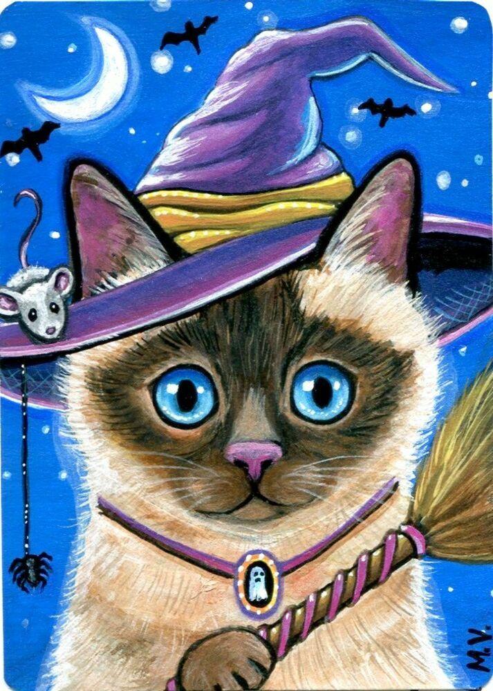 Original Cat Witch Kitten Bats Mouse Spider Broom Moon