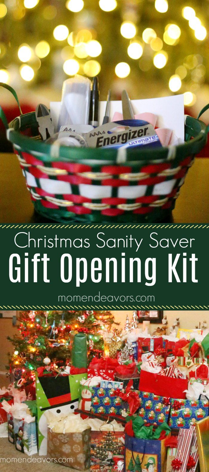 DIY Gift Opening Preparedness Kit - An easy Christmas morning sanity saver, this little kit makes gift opening go more smoothly! #StillGoing AD