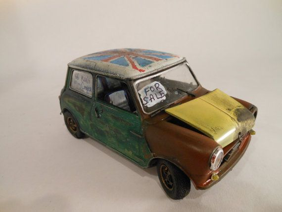 Scale Model Rusted Mini Cooper Car by by classicwrecks on Etsy