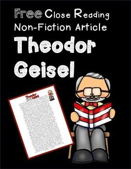 Free close reading passage- Theodor Geisel!  Perfect for Read Across America Day!
