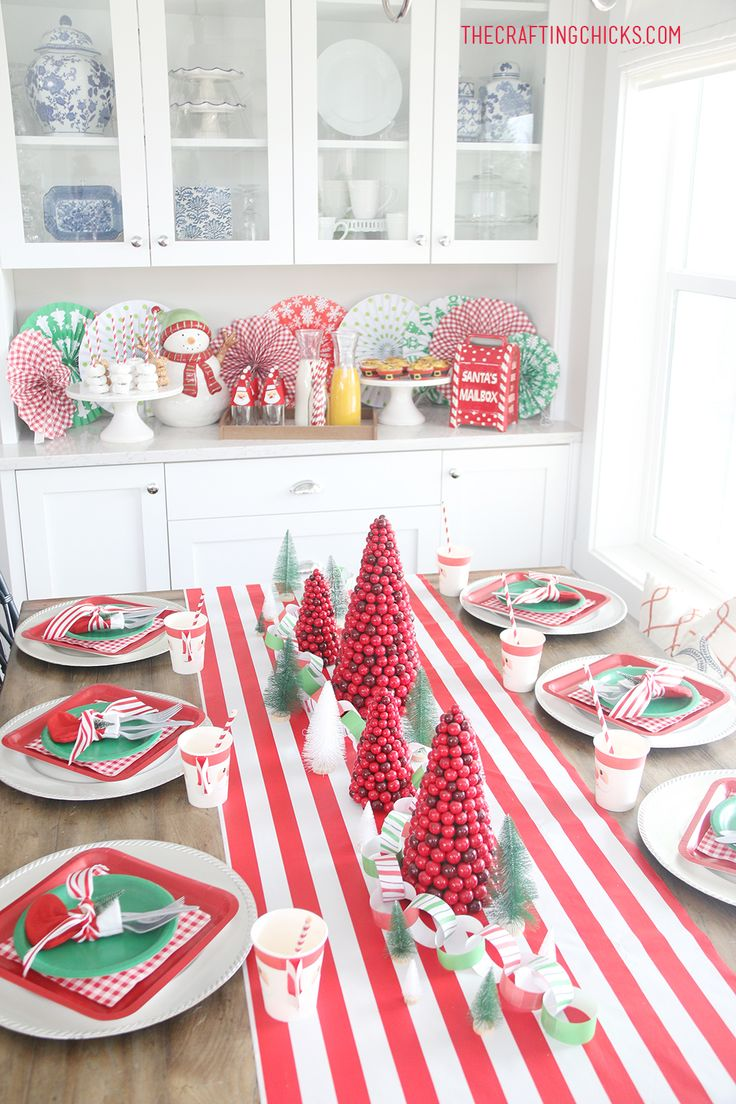 Classic Christmas Breakfast with festive green and red, and pops of white!