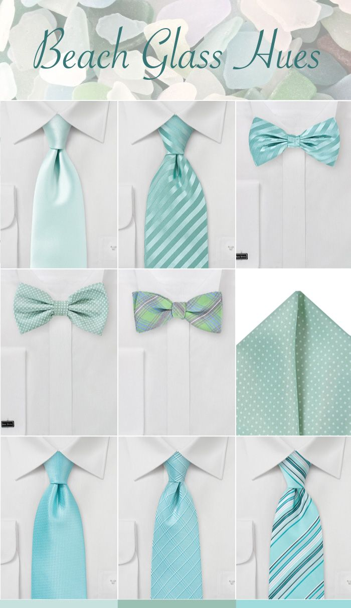 Groomsmen Ties Pocket Squares And Bow In Beach Gl Blues Greens Wedding Ideas Pinterest Colors