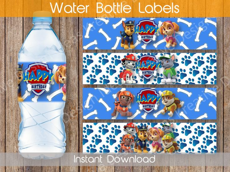 Paw Patrol Water Bottle Labels Water Bottle Labels or