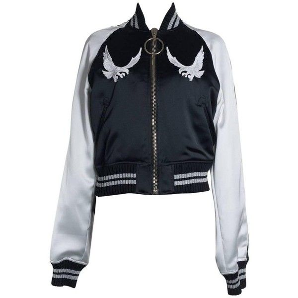 Preowned Off-white Womens Black And White Bird Embroidered Bomber... ($535) ❤ liked on Polyvore featuring outerwear, jackets, bomber jackets, white, black and white bomber jacket, embroidered bomber jackets, white bomber jackets and black and white stripe jacket