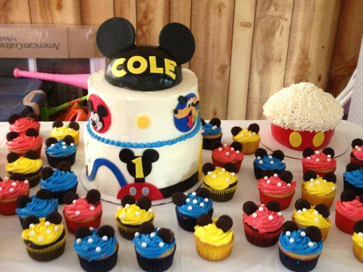 Mickey  Happy Birthday  Birthday Parties  Carters Birthday  Birthday    Mickey Mouse 1st Birthday Cupcakes