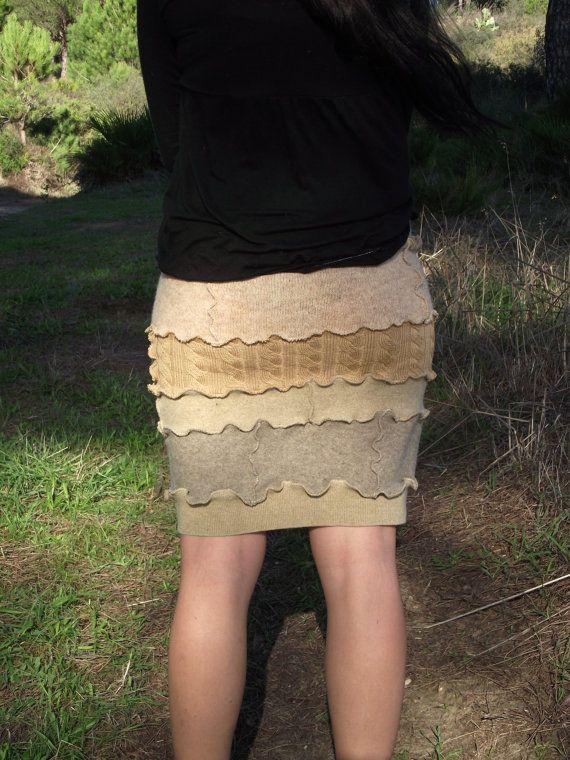 ПРОДАЖА Переработанные свитера шерстяной ткани мини-юбку по MariArtFelting