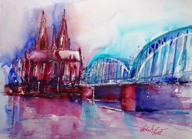 Koln In Spachteltechnik 30x40 Acrylmalerei Abstrakt Aquarell Malen Kunstwerke