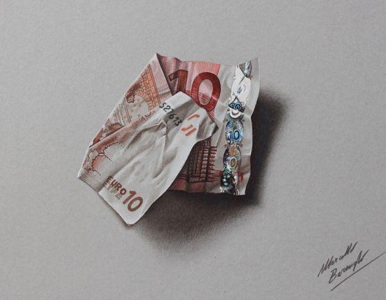 De Italiaanse illustrator Marcello Barenghi maakt wel heel realistische tekeningen. Het is bijna niet te geloven dat dit op een plat stukje papier is getekend!