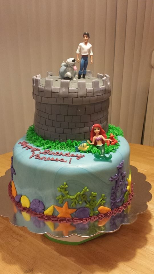 little mermaid and prince eric wedding cake topper the mermaid cake prince eric on the castle tower 16909