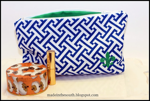 Royal and Kelly Green   Lg. zipper make~up bag: Zipper Bags, Royal, Zipper Make Up