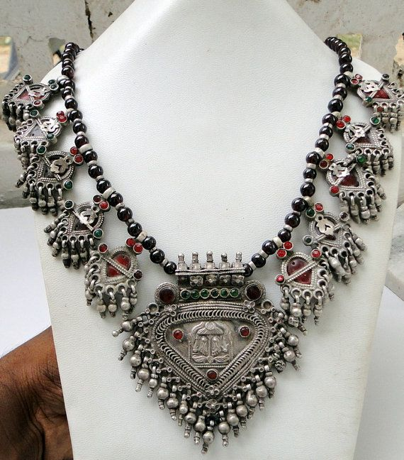 India | Solid silver Banjara tribal Necklace. | Hindu women often wear pieces that are dedicated to Vishnu, as he is believed to be the powerful protector, according to the Bhagvat Geeta (the holy Hindu book).