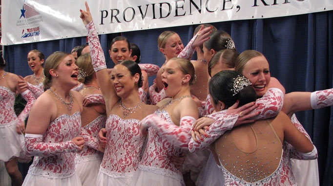 The Haydenettes celebrate (yet) another national title, this time at the 2008 U.S. Synchronized Skating Championships.