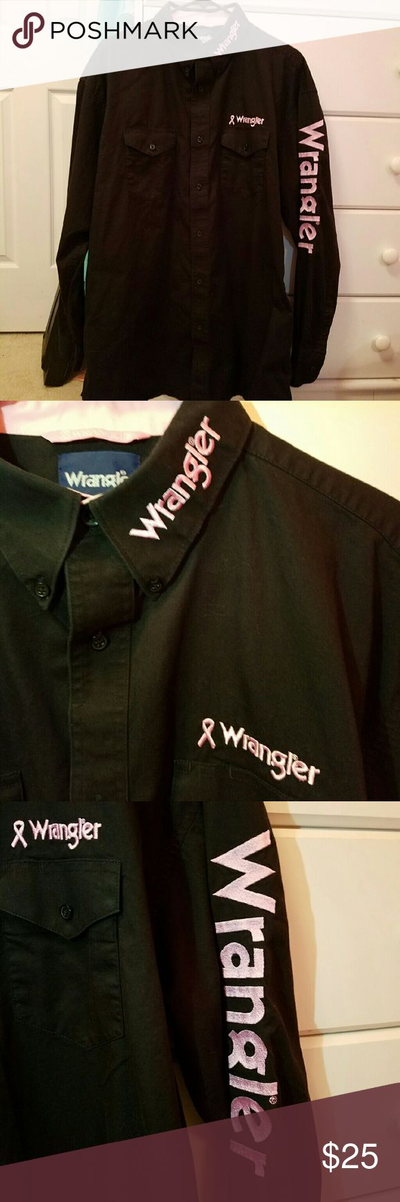 Black and Pink Wrangler Shirt. Breast cancer awareness shirt. Very nice. Good used condition. No tears, holes or stains Wrangler Shirts Casual Button Down Shirts