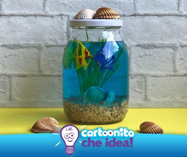 Il mini acquario estivo è bello come gli acquari veri ma semplice da gestire e soprattutto da realizzare. Tutte le istruzioni su #Cartoonitocheidea!