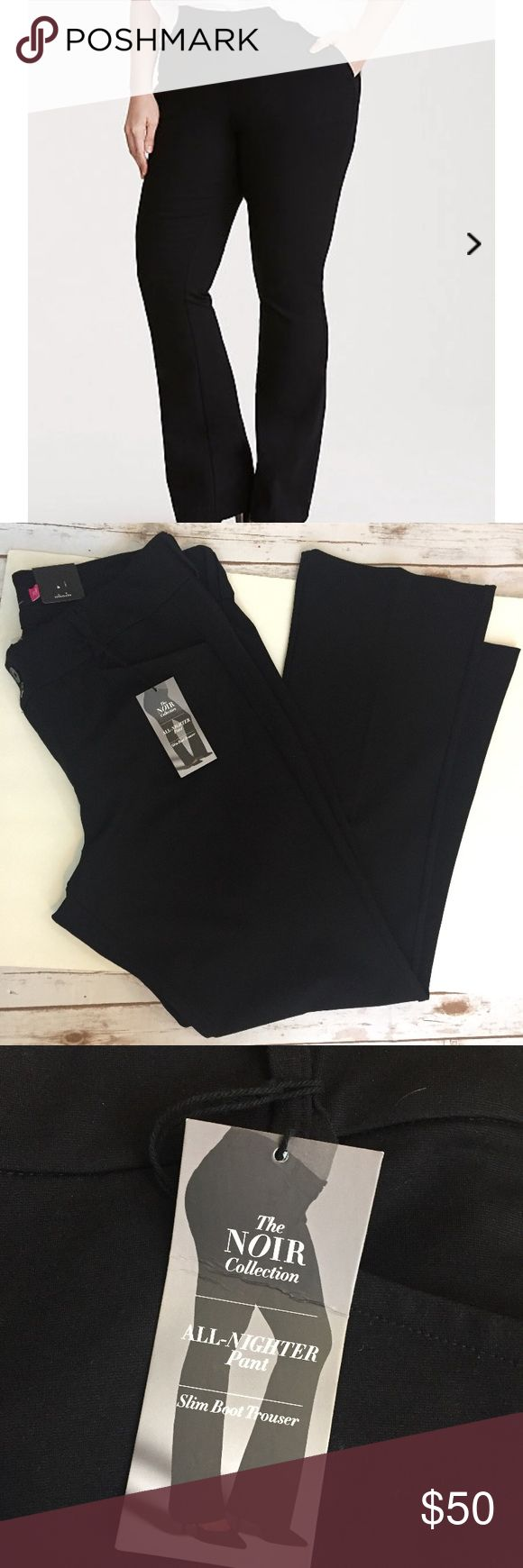 """TORRID - Black Slim Boot Trouser - NWT sz. 20 -$58 These TORRID All Nighter Pants are NEW WITH TAGS and have never been worn.  They are perfect for the office or a night.  Slim and fitted from to high, the break just above the knee lends leg-lengthening quality. Made with our wrinkle-free, power-stretch black All-Nighter ponte, you won't want to take these off after work. A double button closure and belt loops lend versaitlity.  Mid-rise. 34"""" inseam; 11"""" leg openingRayon/nylon/spandex. Wash…"""