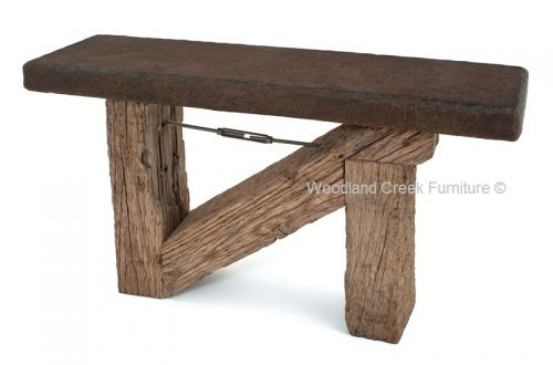 Outdoor Patio Side Table, reclaimed white oak rail road beams, concrete top