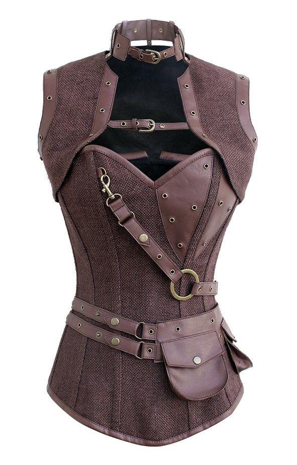 lona marrom padrão corset steampunk com couro sintético marrom bolsa removível | Fantasias Retrofuturistas | Roupa Retrofuturista