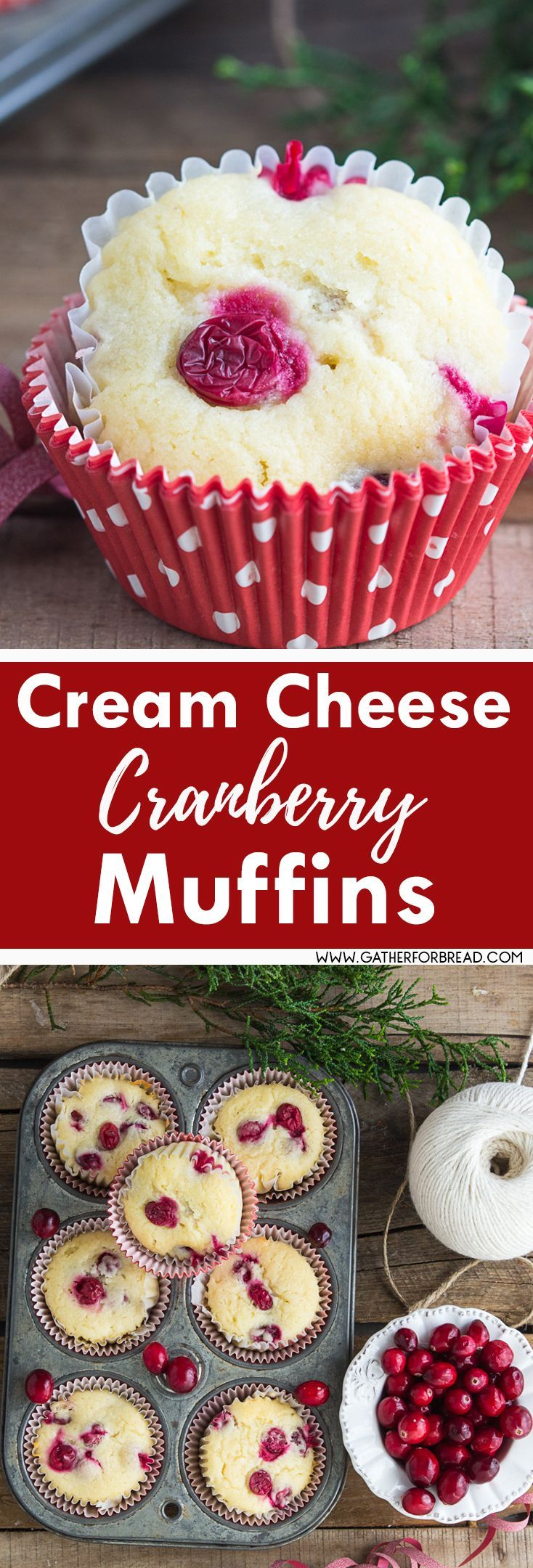 Cream Cheese Cranberry Muffins – Soft fruity cream cheese muffins made with fresh cranberries. Perfect for breakfast, brunch for Christmas and the holidays. SO DELISH!