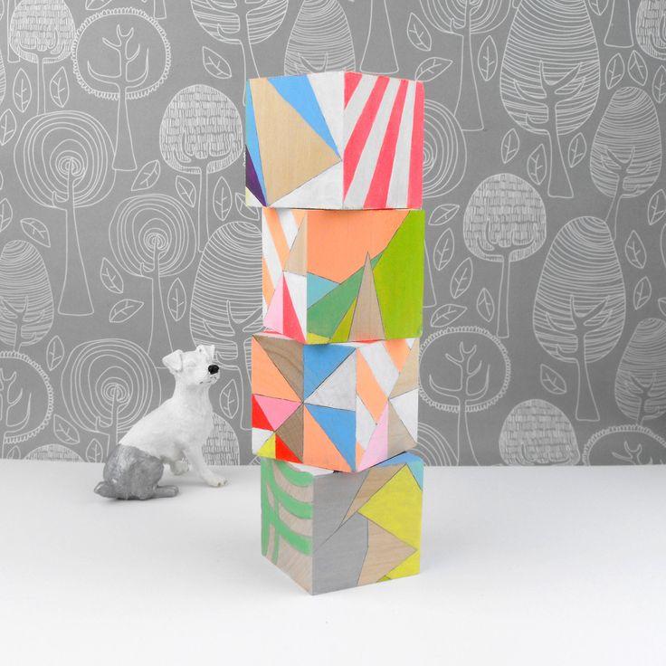 Neon Art Blocks: Geometric Neon, Art Blocks, Geometric Art, Bright Color, Design Interiors, Neon Art, Woods Blocks, Wooden Blocks, Patterns Blocks