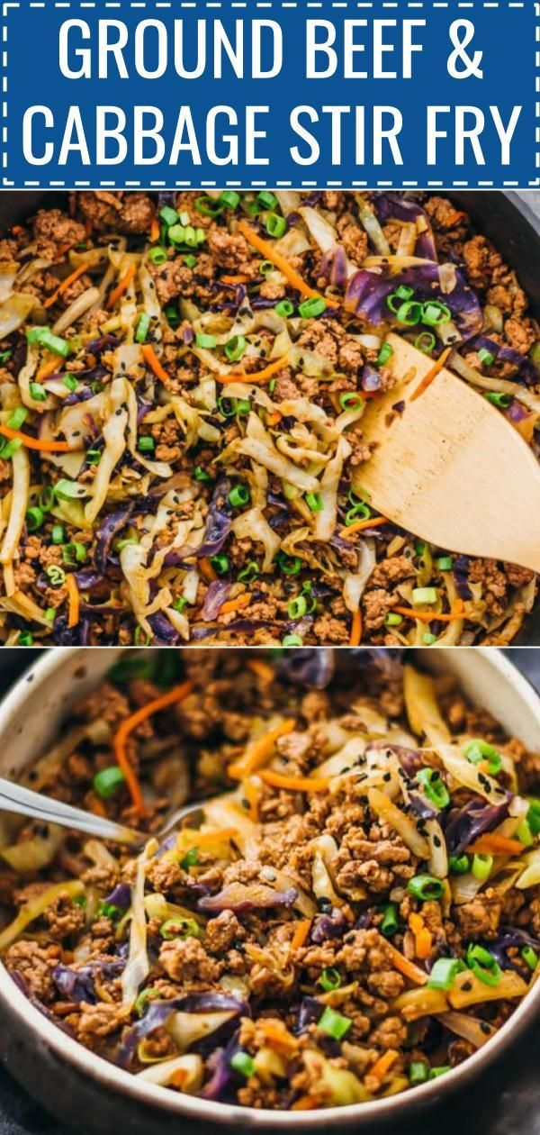 This Is A Super Fast And Easy Stir Fry Dinner With Ground Beef Cabbage Carrots A Dinner With Ground Beef Ground Beef Recipes Healthy Ground Beef And Cabbage
