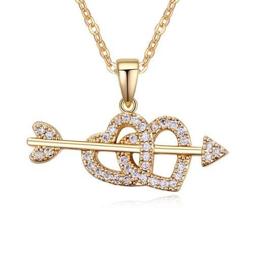 Двойное в форме сердца ожерелье мода подвеска покрытием 18 К золота женские украшения бесплатная доставка