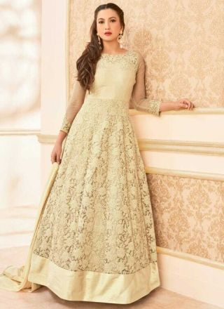 Cream Embroidery Work Net Santoon Designer Fancy Long Anarkali Bollywood Suit http://www.angelnx.com/Salwar-Kameez/Bollywood-Salwar