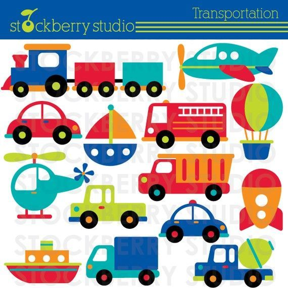 Transportation Clipart - Plane, Train and Automobiles - Instant Download