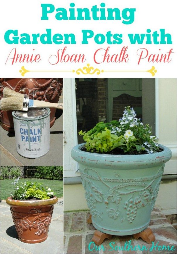 Add some color to the garden or porch with chalky painted pots!  Our Southern Home fills you in on how to properly seal them so that they will withstand the elements. Painting Garden Pots with Annie Sloan Chalk Paint via Our Southern Home