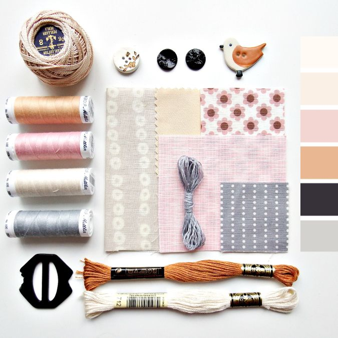 Color curated moodboard by Very Berry for #the100dayproject - peach cream taupe black grey blush pink