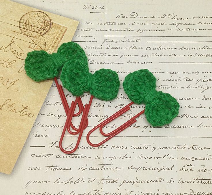 A personal favorite from my Etsy shop https://www.etsy.com/listing/292335019/set-of-3-crochet-bow-paperclip-bookmarks