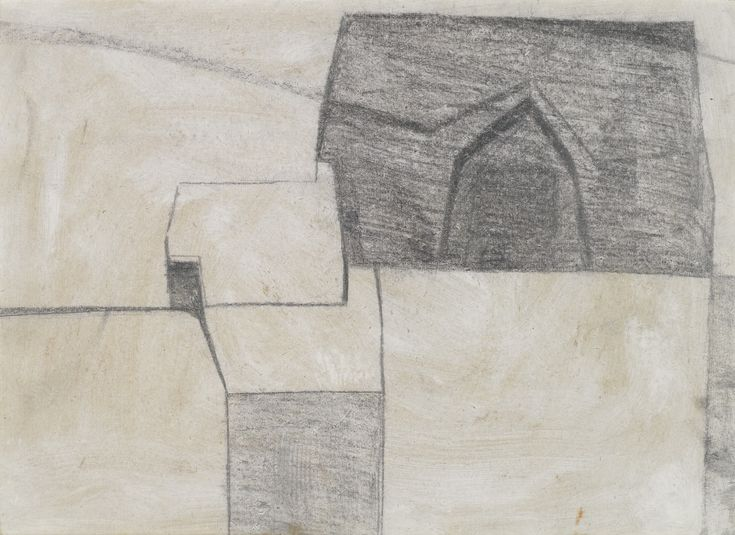 FRANCIS DAVISON 1919-1984 LARGE BARN, LITTLE COTTAGE stamped with studio stamp on the reverse, oil and graphite on cardboard, 37 by 50.5cm. Executed circa 1950-51.