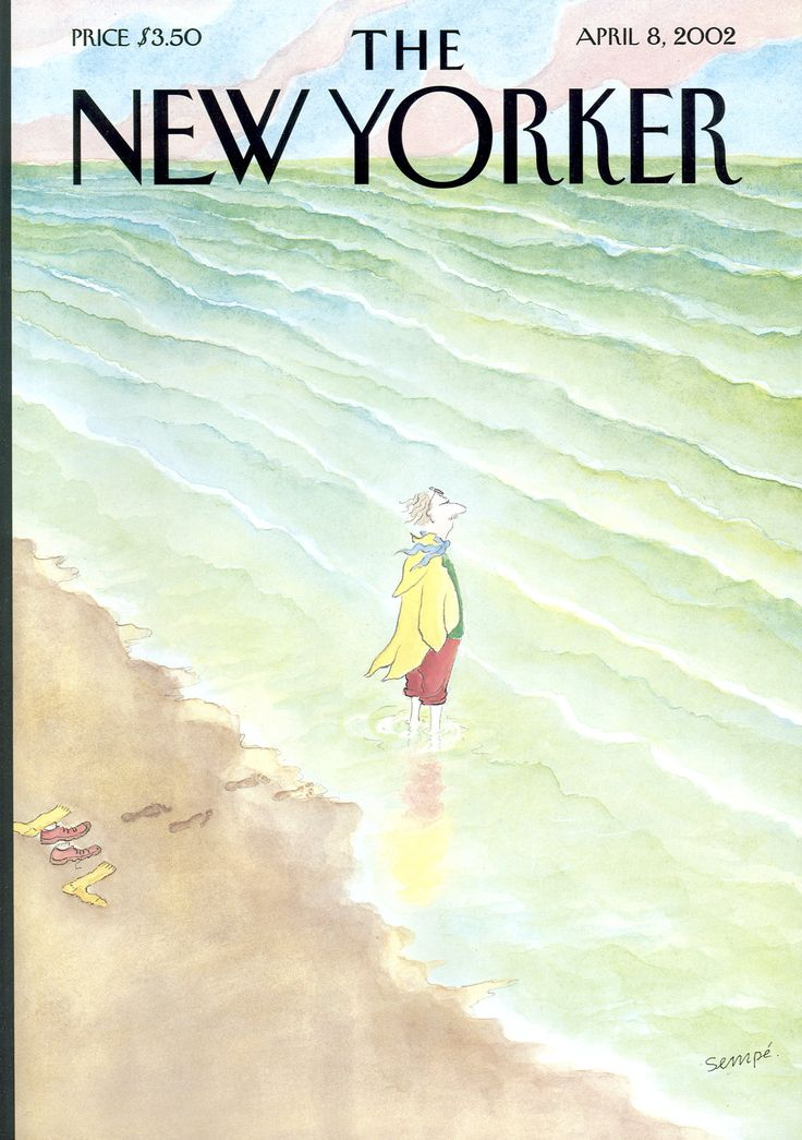 "The New Yorker - Monday, April 8, 2002 - Issue # 3978 - Vol. 78 - N° 7 - Cover ""Intrepid"" by ""Sempé"" - Jean-Jacques Sempé"