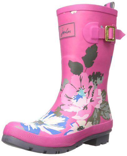 Pink Rain Boots with a Floral Print The Joules Women's Molly Welly Rain Boot is a patterned rain boot featuring logo at front, and adjustable strap at side, and an easy-on loop at back shaft.  This cute rain boot features a rubber upper for exceptional protection against rainfall and puddles.