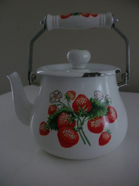 .Vintage Strawberry Teapot / Home Decor / Planter / Cabinet Decor