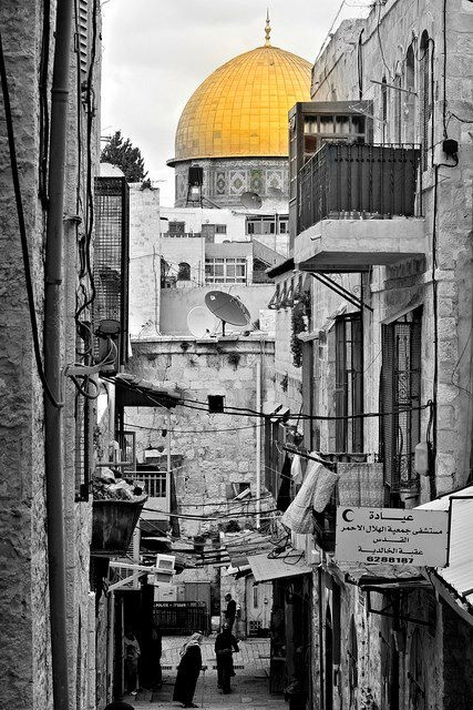 Dome of the Rock mosque. shiny golden dome...Palestine,Al qudes.. فلسطين القدس قبة الصخرة.