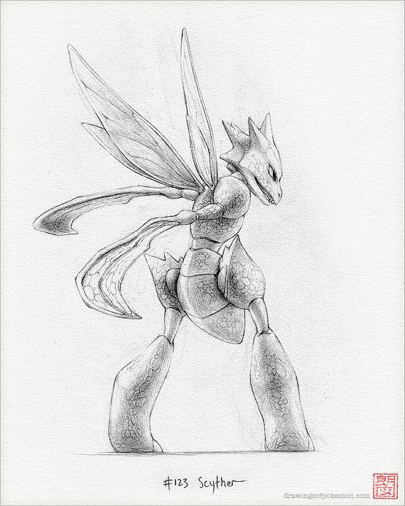 "Scyther - 8 x 10"" print (pokemon drawing, art, bug, flying, artwork, gaming, nintendo, decor)"