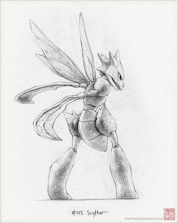Scyther 8 x 10 de la impresión pokemon dibujo por RockyHammerEtsy