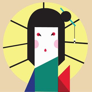 ikko tanaka most famous for a poster he created for the Nihon Buyo Performance, he merged the image of the Japanese geisha with sharp lines and a mix of primary and pastel colors to produce his iconic work - elysazheng.wordpresss.com