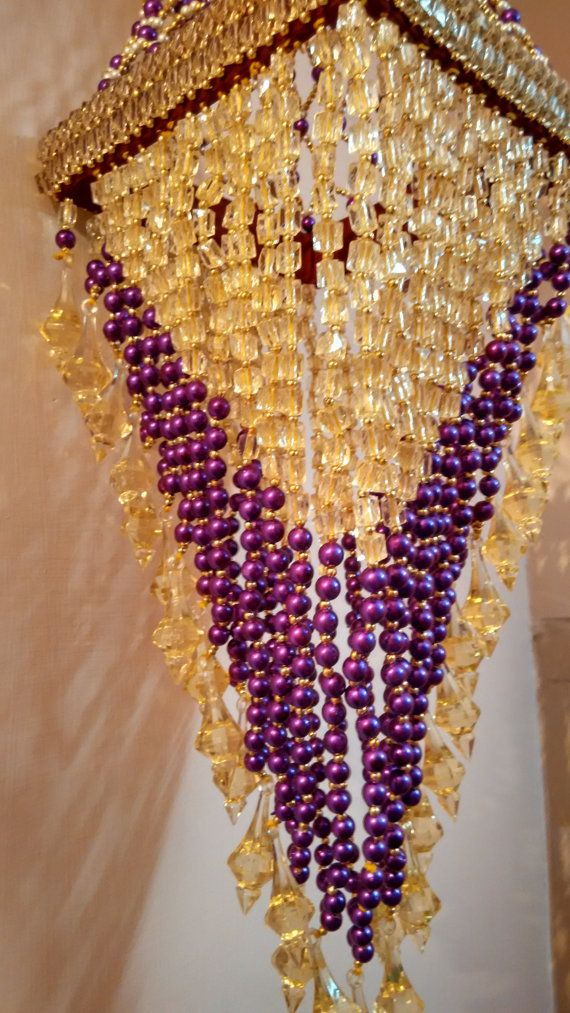 Purple Pearls and Golden Crystal Medium Handmade by TheViViDstore